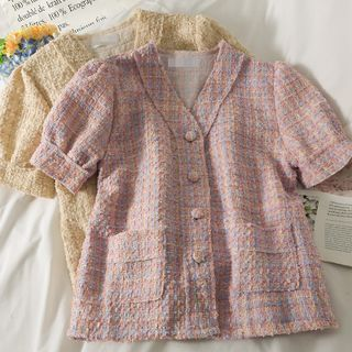 Image of Tweed Puff-Sleeve Button-Up Loose Top