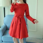 Off-shoulder Frill Trim Dress 1596