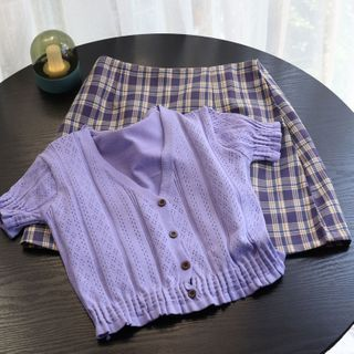 Image of Plaid Mini A-Line Skirt / Pointelle Knit Top / Plain Shirt / Ruffled Short-Sleeve Top