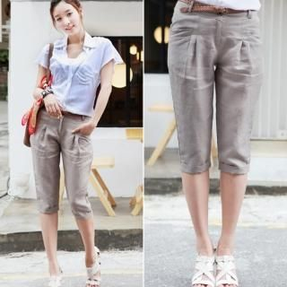 Picture of WHITE COOKIE Cropped Linen Pants with Belt 1022991463 (WHITE COOKIE Apparel, Womens Pants, South Korea Apparel)