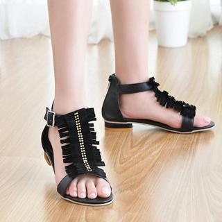 Picture of KAWO Fringed Rhinestone Flat Sandals 1022901795 (Sandals, KAWO Shoes, China Shoes, Womens Shoes, Womens Sandals)