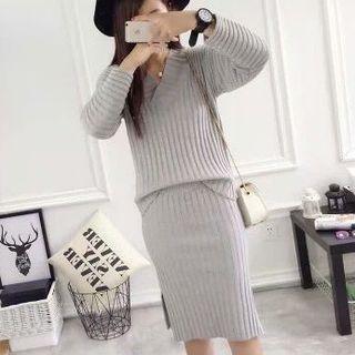 Set: V-Neck Ribbed Sweater + Knit Skirt 1053831664