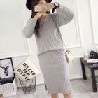 Set: V-Neck Ribbed Sweater + Knit Skirt 1596