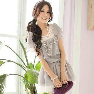 Buy Tokyo Fashion Lace-Panel Ruffle Chiffon Dress 1022898111