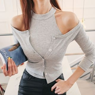 Set: Slim-Fit Cardigan + Halter Ribbed Top 1057737283