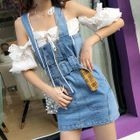 Tie-Waist Mini Dungaree Dress 1596