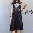 Set: Short Sleeve Striped T-Shirt Dress + Lace Trim Pinafore Dress 1596