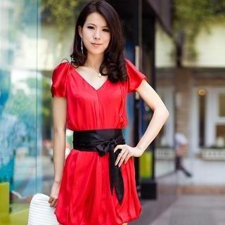 Buy HuaYuZhiLu Tie-Waist Short-Sleeve Silk Dress 1022945068