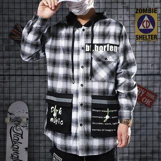 Image of Plaid Hooded Jacket