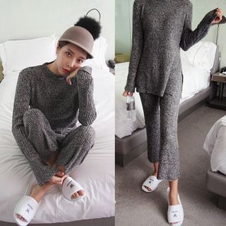 Set: Crew-Neck M lange Ribbed Sweater + Knit Pants 1055050844