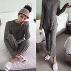 Set: Crew-Neck M lange Ribbed Sweater + Knit Pants 1596