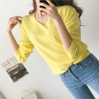 Image For V-Neck Colored Sweater