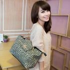 Faux-Leather Leopard-Print Twist-Lock Satchel Black - One Size