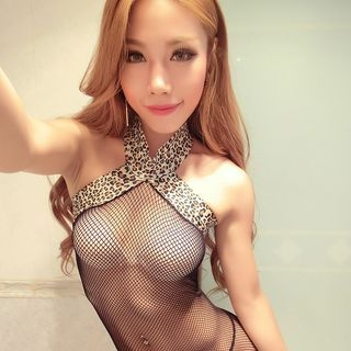 Set: Leopard Print Fishnet Bodysuit + Thongs 1055318869