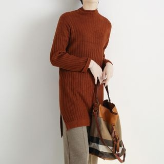 Side Slit Ribbed Knit Dress 1063942573