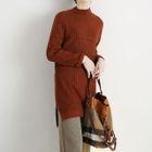 Side Slit Ribbed Knit Dress 1596