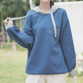 Embroider | Oversize | Hoody | Blue | Size | One