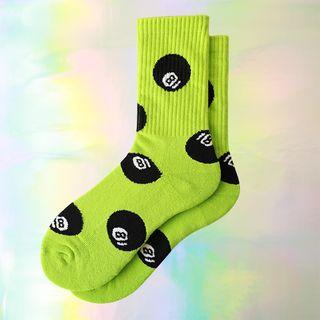 Green   Print   Neon   Sock   Size   One