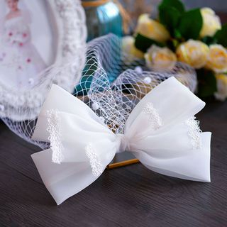 Image of Bow Visor Wedding Veil / Faux Pearl Rhinestone Drop Earring