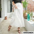 Band-Waist Textured Long Skirt 1596