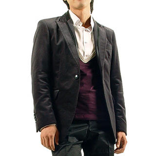 Buy Purplow Leather Patch One-Button Velvet Blazer 1004594089