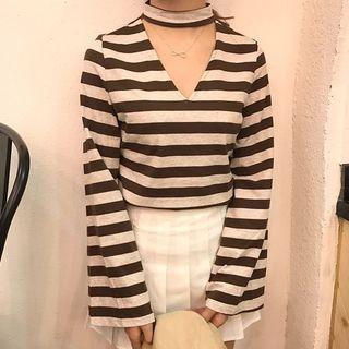 Stripe V-neck Halter Bell-Sleeve T-shirt 1058180929