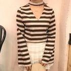 Stripe V-neck Halter Bell-Sleeve T-shirt 1596