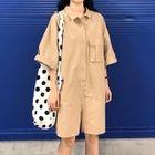Pocketed 3/4-Sleeve Playsuit Khaki - One Size 1596