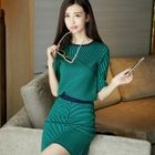 Set: Elbow-Sleeve Striped Knit Top + Skirt 1596