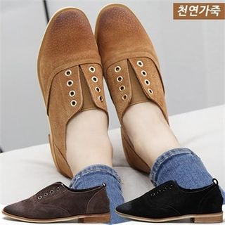 Genuine-Leather Oxford Flats picture