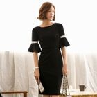 Bell-Sleeve Sheath Dress 1596