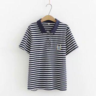 Short-sleeve   Stripe   Shirt   Polo   Navy   Blue   Size   One