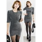 Elbow-Sleeve Mini Sheath Dress 1596