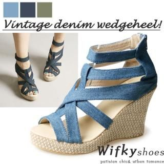 Buy Wifky Denim Strappy Wedge Sandals 1022970818