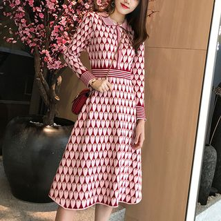 Heart Pattern A-Line Knit Dress - United states