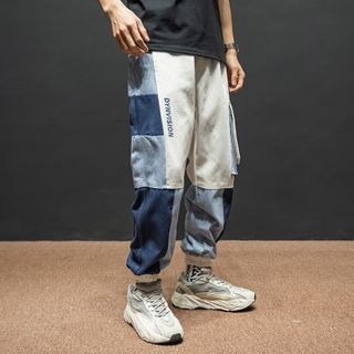 Image of Buckled-Accent Colorblock Jogger Pants