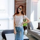 Off-Shoulder Ruffle Lace Top 1596