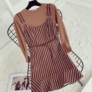 Set: Plain Long Sleeve T-Shirt + Striped Pinafore Dress 1061909373