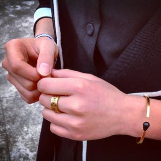 Image of Couple Matching Coordinate Embossed Open Ring