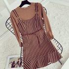 Set: Plain Long Sleeve T-Shirt + Striped Pinafore Dress 1596
