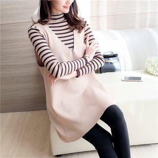 Set: Striped Mock Neck Sweater + V-Neck Sleeveless Knit Tunic 1061959543