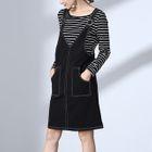 Set: Striped Long-Sleeve T-Shirt + Pinafore Dress 1596