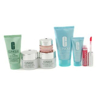 Picture of Clinique - Travel Set: 7 Day Scrub + Day Cream + Night Cream + Eye Cream + Turnaround + Body Cream + Lip Gloss 7pcs (Clinique, Skincare, Face Care for Women, Womens Travel Kits)