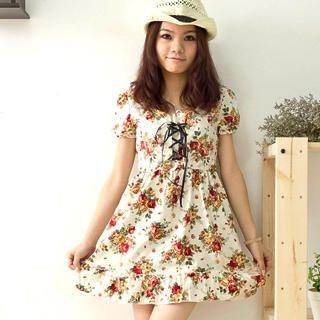 Buy Fashion Lady Lace-Up Floral Print Dress 1022432041