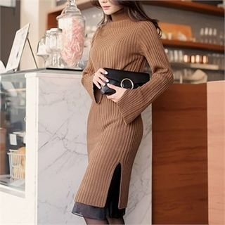 Slit-Side Ribbed Knit Dress 1055711673
