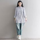 Pinstripe Linen Cotton Long-Sleeve Blouse 1596