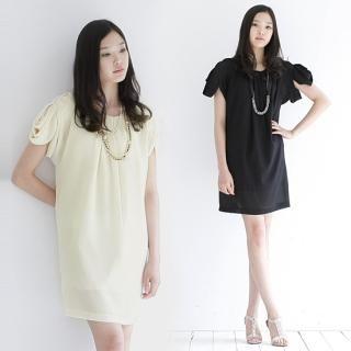 Buy iEva Pleats Detail Sleeve Shirred Chiffon Dress 1022584806