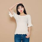Frilled-Trim Ribbed Knit Top 1596