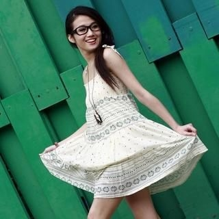Buy Yammi Floral Printed Smocking Dress White – One Size 1022277223