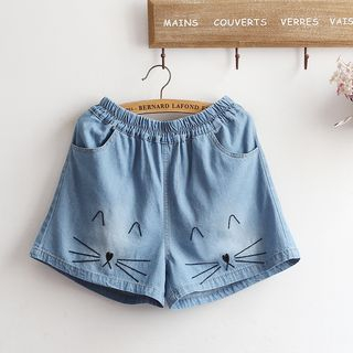 Image of Cat Embroidered Wide Leg Denim Shorts